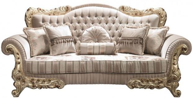 Casa Padrino Luxus Barock Sofa mit Glitzersteinen und dekorativen Kissen Beige / Gold 230 x 85 x H. 110 cm - Barock Wohnzimmer Möbel