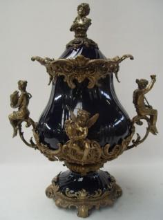 Casa Padrino Luxus Barock Porzellan Schüssel mit Deckel und 2 Messing Griffen