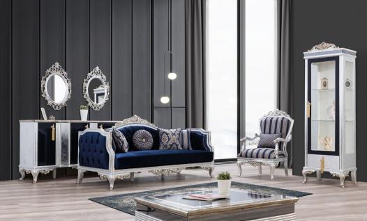 Casa Padrino Luxus Barock Vitrine Silber / Schwarz / Gold - Handgefertigter Massivholz Vitrinenschrank - Barock Wohnzimmer Möbel - Vorschau 3
