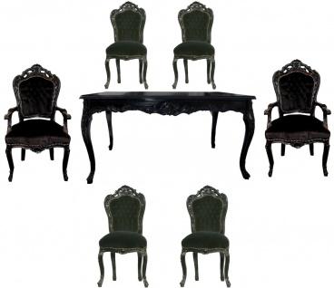 Casa Padrino Barock Esszimmer Set Schwarz/Schwarz - Esstisch + 6 Stühle