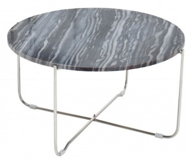 Casa Padrino Designer Beistelltisch mit Marmorplatte Ø 60 cm Grau / Silber H. 33 cm - Unikat