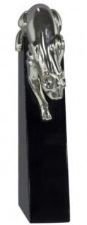 Casa Padrino Luxus Bronzefigur Panther Silber / Schwarz 17 x 6 x H. 28 cm - Elegante Dekofigur auf Holzsockel - Vorschau 2