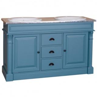 Casa Padrino Landhaus Stil Waschschrank Waschtisch inkl 2 Waschbecken mit Schubladen und Schranktüren Nizza - Bad Schrank Massivholz