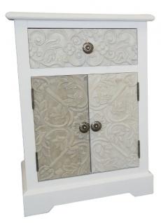 Casa Padrino Landhausstil Kommode Weiß / Mehrfarbig 45 x 32 x H. 64 cm - Handgefertigte Kommode mit Schublade und 2 Türen