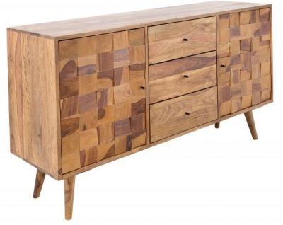 Casa Padrino Luxus Fernsehschrank Natur B.145 x H.75 x T.40 - Sideboard - Kommode - Handgefertigt Massivholz!