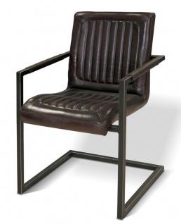 Casa Padrino Vintage Industrial Echtleder Armlehn Stuhl Industriestuhl - ALLE FARBEN - Luxus Sessel Industrie Armlehner Design Möbel Büffelleder
