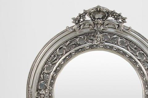 Großer prunkvoller Barock Spiegel Halbrund Silber 185 x 110 cm - Vorschau 2
