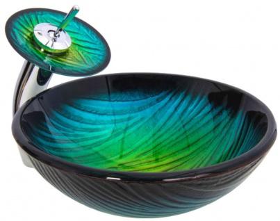 Casa Padrino Designer Waschtisch Set Blau / Grün Ø 43 x H. 30 cm - Einhebel Wasserhahn mit rundem Glas Waschbecken - Luxus Bad Zubehör