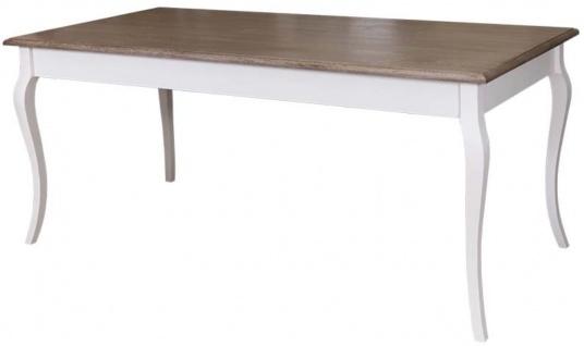 Casa Padrino Landhausstil Küchentisch Weiß / Braun - Verschiedene Größen - Esstisch mit geschwungenen Beinen