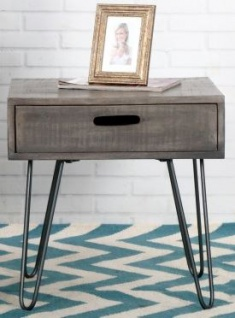 Casa Padrino Designer Beistelltisch Mango Grau 50cm - Massivholz