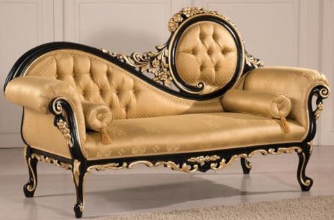 Casa Padrino Luxus Barock Wohnzimmer Sofa Gold / Schwarz 170 x 70 x H. 100 cm - Barockstil Wohnzimmer Möbel - Edel & Prunkvoll