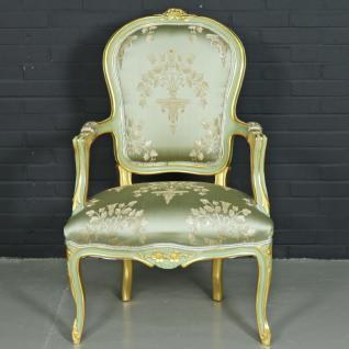 "Casa Padrino Barock Salon Stuhl "" Medaillon"" Mod1 mit Armlehnen Hellgrün / Gold - Antikstil Stuhl"
