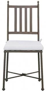 Casa Padrino Luxus Jugendstil Gartenstuhl mit Sitzkissen Braun / Weiß 42 x 45 x H. 103 cm - Handgeschmiedeter Esszimmer Stuhl - Esszimmer Garten Terrassen Möbel