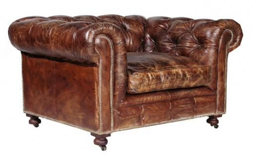 Casa Padrino Chesterfield Luxus Echt Leder Sessel Vintage Leder Kensington Cigar Braun - Club Sessel - Vorschau
