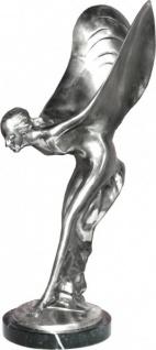 Anmutende Bronze Figur Skulptur vernickelt auf Marmorsockel Lady with Wings aus der Luxus Kollektion von Casa Padrino