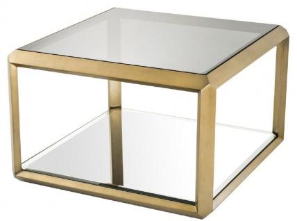 Casa Padrino Luxus Beistelltisch Messingfarben / Schwarz 75 x 75 x H. 55 cm - Edelstahl Tisch mit Glasplatte und Spiegelglas - Luxus Wohnzimmer Möbel