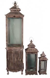 Wunderschöne Barock Laterne aus Holz, antik-look Braun 3-er Set - Kerzenleuchter Antik