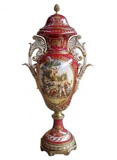 Casa Padrino Luxus Barock Porzellan Vase mit Deckel H. 128 cm - Limited Edition