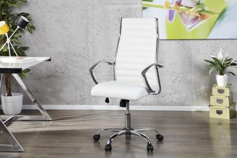 Casa Padrino Bürosessel Drehsessel Drehstuhl Bürostuhl Bürosessel Weiß / Chrom - Modern Line - Vorschau 1
