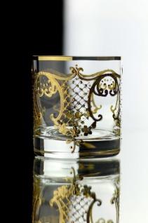 Casa Padrino Luxus Barock Whisky Glas 6er Set Gold Ø 8 x H. 9 cm - Handgefertigte und handbemalte Whiskygläser - Hotel & Restaurant Accessoires - Luxus Qualität