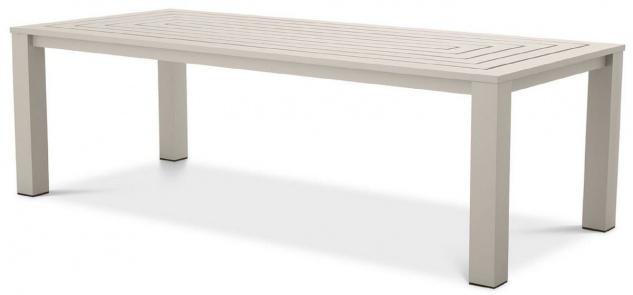Casa Padrino Luxus Esstisch Sandfarben 240 x 105 x H. 74, 5 cm - Wetterbeständiger Aluminium Tisch - Garten Tisch - Terrassen Tisch - Garten Möbel - Terrassen Möbel - Luxus Qualität