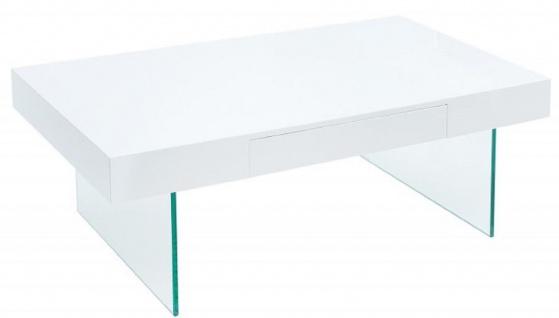 Casa Padrino Designer Couchtisch Hochglanzweiß 110 x 60 x H. 40 cm - Wohnzimmertisch mit Schublade