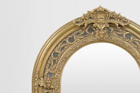 Großer prunkvoller Barock Spiegel Halbrund Gold 185 x 110 cm - Vorschau 2