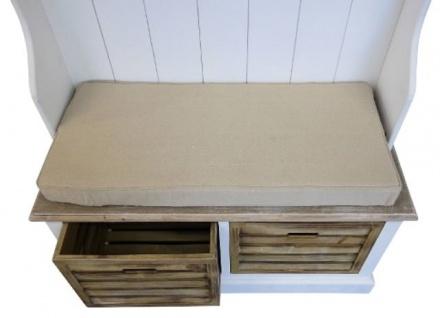 Casa Padrino Landhausstil Garderobe Antik Weiß / Naturfarben 92 x 40 x H. 189 cm - Handgefertigte Garderobe mit Sitzbank und Körben - Vorschau 4