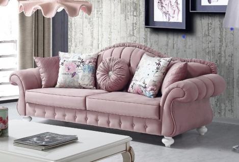 Casa Padrino Barock Sofa Rosa / Weiß 225 x 83 x H. 92 cm - Wohnzimmer Sofa im Barockstil - Barock Möbel