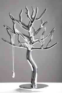 Schmuckhalterbaum silber aus Polyresin, Höhe 30cm, Breite 23cm, Tiefe 16cm - Schmuckständer, Schmuckbaum