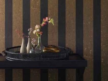 Casa Padrino Barock Vliestapete mit Streifen Gold / Anthrazit 10, 05 x 0, 53 m - Deko Accessoires - Vorschau 2