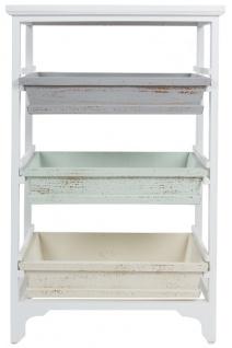 Casa Padrino Landhausstil Regalschrank Weiß / Mehrfarbig 54 x 32 x H. 86 cm - Handgefertigter Shabby Chic Regalschrank mit 3 Fächern - Vorschau 2