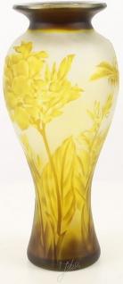 Casa Padrino Glas Deko Vase Libelle Gelb / Braun Ø 19, 5 x H. 44, 7 cm - Luxus Cameoglas Baluster Blumenvase - Vorschau 2