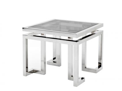 Casa Padrino Luxus Art Deco Designer Beistelltisch mit Rauchglas - Hotel Tisch Möbel