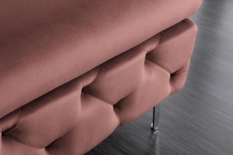 Casa Padrino Chesterfield Samt Hocker Altrosa / Silber 90 x 63 x H. 47 cm - Moderner rechteckiger Sitzhocker - Wohnzimmermöbel - Vorschau 4