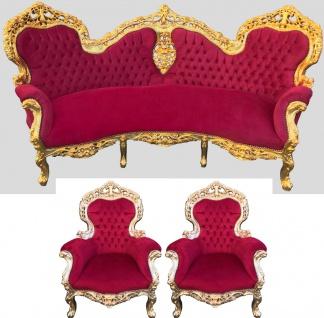 Barock Sofa Garnitur Bordeaux Muster / Gold + 2 Sessel - Wohnzimmer Barock