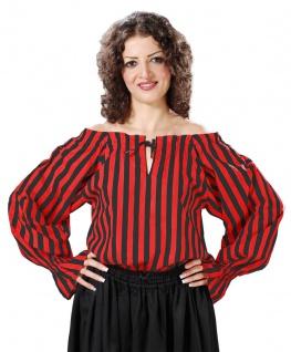 Anne Bonney Striped Piraten Bluse - Black - Red