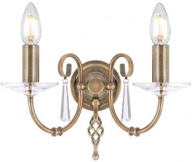 Casa Padrino Barock Doppel Wandleuchte Antik Messing 32 x 17, 5 x H. 22 cm - Elegante Wohnzimmer Wandlampe - Wandleuchten im Barockstil
