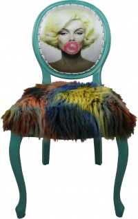 Casa Padrino Barock Luxus Esszimmer Stuhl Marilyn Monroe Bubble Gum Crazy mit Kunstfell - Pop Art Designer Stuhl
