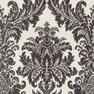 Casa Padrino Barock Textiltapete Weiß / Schwarz 10, 05 x 0, 53 m - Luxus Wohnzimmer Tapete