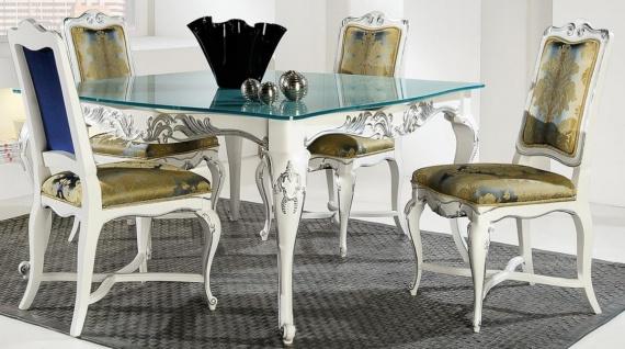Casa Padrino Luxus Barock Esszimmer Set Gold / Weiß / Silber - Verschiedene Tischgrößen - 1 Esstisch mit Glasplatte & 4 Esszimmerstühle - Edle Barock Esszimmer Möbel