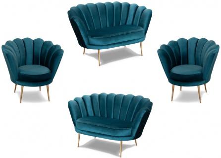 Casa Padrino Designer Art Deco Wohnzimmer Set Türkis / Messingfarben - 2 Sofas & 2 Sessel - Wohnzimmer Möbel - Art Deco Möbel