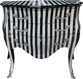Casa Padrino Barock Kommode Schwarz / Weiß Streifen 100 cm - Antik Stil Möbel - Kommode Schubladen Schrank Gestreift