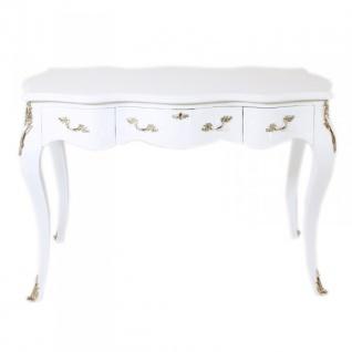 Casa Padrino Barock Schreibtisch Sekretär / Konsole Weiß / Silber 120 x 60 x H80 cm - Luxus Möbel