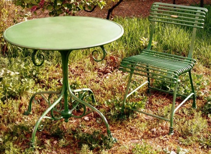 Casa Padrino Jugendstil Gartentisch & Gartenstuhl - verschiedene Farben - Handgefertigtes Gartenmöbel Set