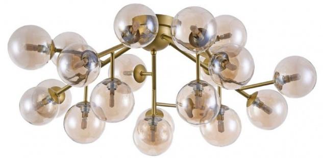 Casa Padrino Wohnzimmer Deckenleuchte Gold / Bernsteinfarben Ø 75 x H. 25 cm - Deckenlampe mit kugelförmigen Lampenschirmen