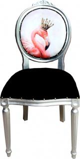 Casa Padrino Barock Luxus Esszimmer Stuhl Flamingo / Silber mit Bling Bling Glitzersteinen - Designer Stuhl