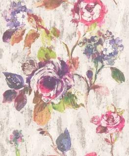 Casa Padrino Barock Vliestapete Grau / Mehrfarbig 10, 05 x 0, 53 m - Tapete mit Blumenmuster - Deko Accessoires