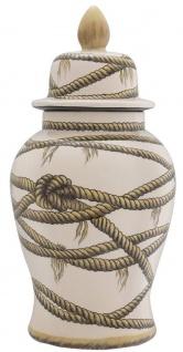 Casa Padrino Luxus Porzellan Vase Beige Ø 31 x H. 67 cm - Runde Blumenvase mit Deckel - Deko Accessoires - Vorschau 3