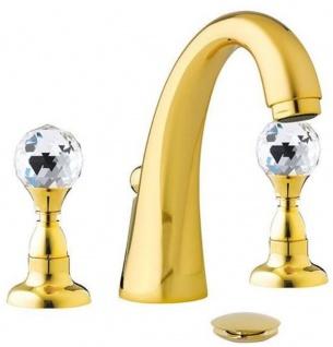 Casa Padrino Luxus Waschtisch Armatur mit Swarovski Kristallglas Gold H. 15 cm - Dreilochbatterie mit Ablaufgarnitur - Luxus Bad Zubehör - Made in Italy